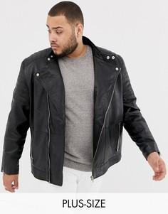 Черная кожаная байкерская куртка Jacamo Plus-Черный