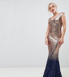 Платье макси с отделкой пайетками и эффектом омбре City Goddess Petite-Золотой