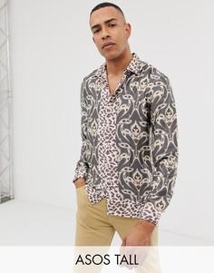 Комбинируемая рубашка классического кроя с принтом пейсли ASOS DESIGN Tall-Серый