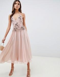 Платье миди с отделкой ASOS DESIGN-Розовый