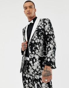 Приталенный пиджак-смокинг с монохромным цветочным принтом ASOS EDITION-Черный