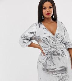 Серебристое платье мини с запахом и пайетками TFNC Plus-Серебряный