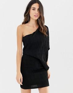 Плиссированное платье мини на одно плечо с блестками ASOS DESIGN-Черный