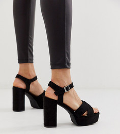 Эксклюзивные черные босоножки на каблуке и платформе Glamorous-Черный