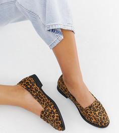 Туфли на плоской подошве для широкой стопы с леопардовым принтом ASOS DESIGN Minny-Мульти