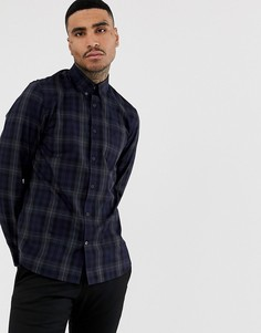 Темно-синяя рубашка в клетку с контрастными полосками Fred Perry-Темно-синий