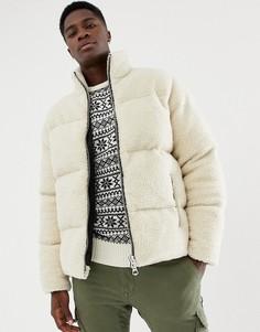 Светло-бежевая дутая куртка с искусственным мехом ASOS DESIGN-Бежевый