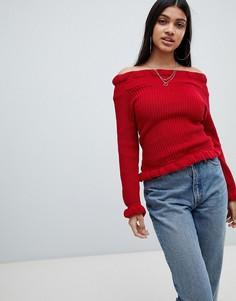 Джемпер с открытыми плечами и оборками AX Paris-Красный