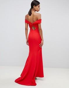 Красное платье макси с широким вырезом Jarlo-Красный