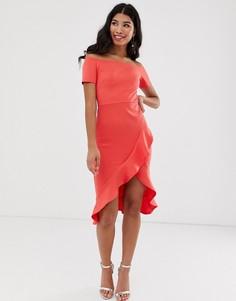 Платье миди со спущенными плечами и оборками на юбке True Violet-Розовый