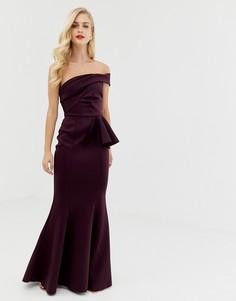 Платье макси с широким вырезом и юбкой с годе ASOS DESIGN-Фиолетовый
