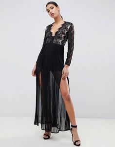 Черное платье макси с отделкой фестонным кружевом Rare London-Черный
