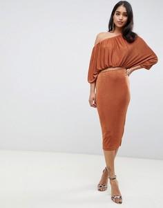 Облегающее платье миди на одно плечо ASOS DESIGN-Коричневый