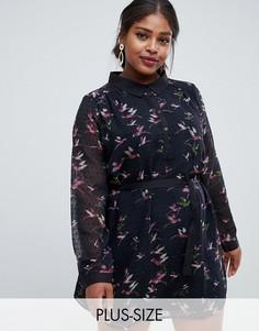 Платье-рубашка с принтом Yumi Plus-Черный