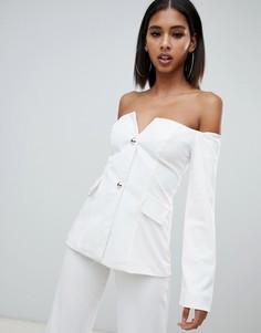 Пиджак-смокинг с широким вырезом Club L-Белый