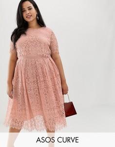 Кружевное платье для выпускного с короткими рукавами ASOS DESIGN Curve-Мульти