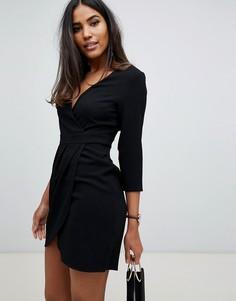 Платье мини с запахом на юбке ASOS DESIGN-Черный