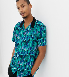 Синяя рубашка классического кроя с отложным воротником и принтом перьев Milk It Vintage-Синий