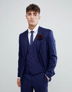 Эластичный приталенный фланелевый пиджак в клетку Moss London-Синий