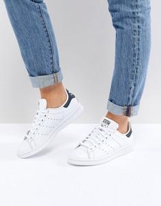 Бело-синие кроссовки Adidas Originals Stan Smith-Белый