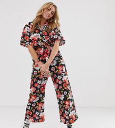 Укороченные брюки клеш с цветочным принтом Milk It Vintage-Черный