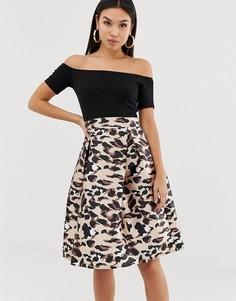 Платье миди 2 в 1 с открытыми плечами AX Paris-Мульти