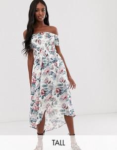 Платье миди с открытыми плечами с цветочным принтом Parisian Tall-Белый