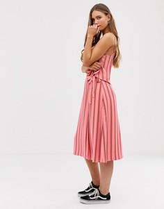 Юбка миди в полоску с запахом из комплекта Glamorous-Розовый
