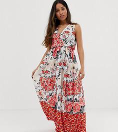 Платье макси с запахом и цветочным принтом Parisian Petite-Мульти