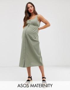 Повседневное платье миди на кнопках спереди ASOS DESIGN Maternity-Зеленый