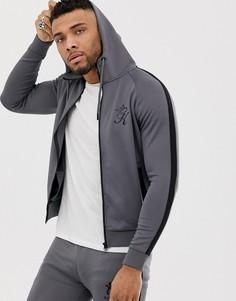 Спортивная куртка из политрикотажа на молнии Gym King-Серый