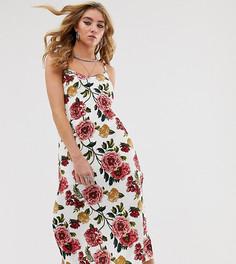 Платье миди на бретельках, с цветочным принтом и высокими разрезами Milk It Vintage-Белый