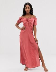 Пляжное платье макси с глубоким вырезом спереди и шнуровкой ASOS DESIGN-Коричневый