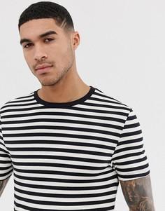 Черно-белая обтягивающая футболка из органического хлопка в полоску ASOS DESIGN-Мульти