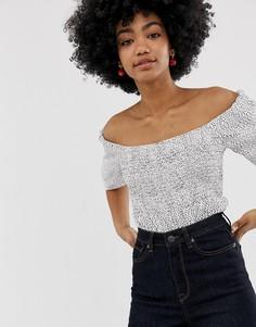 Свободная блузка в горошек с открытыми плечами Gestuz Cathrin-Белый