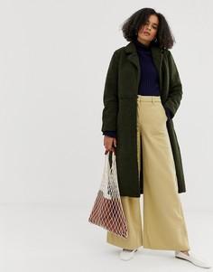 Шерстяное пальто с поясом Minimum-Зеленый
