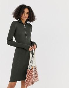 Платье в рубчик с высоким воротом и молнией Minimum-Зеленый