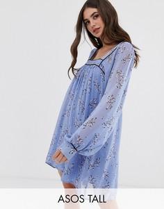 Платье мини с квадратным вырезом и цветочным принтом ASOS DESIGN Tall-Мульти