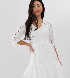 Белое платье с запахом и вышивкой ришелье Parisian Petite-Белый