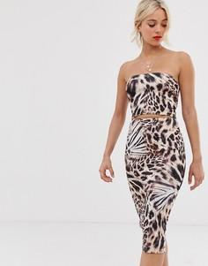 Платье-бандо с леопардовым принтом и вырезом True Violet-Мульти