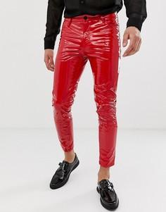 Красные укороченные джинсы скинни из искусственной кожи с покрытием ASOS DESIGN-Красный