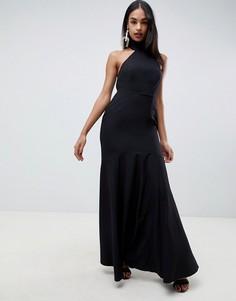 Платье макси из крепа с высоким воротом ASOS DESIGN-Черный