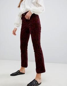 Укороченные джинсы клеш с принтом Free People-Красный