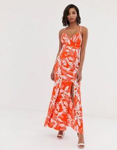 Платье макси с цветочным принтом и подолом годе Y.A.S-Мульти