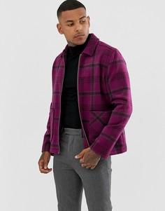 Розовая куртка на молнии с добавлением шерсти ASOS DESIGN-Розовый