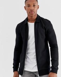 Черная облегающая трикотажная куртка Харрингтон ASOS DESIGN-Черный