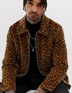 Спортивная куртка на молнии с леопардовым принтом ASOS DESIGN-Светло-коричневый