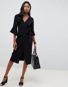 Платье миди с запахом и расклешенными рукавами ASOS DESIGN-Черный