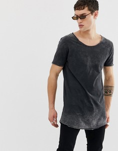 Свободная длинная футболка с овальным вырезом и эффектом кислотной стирки ASOS DESIGN-Черный