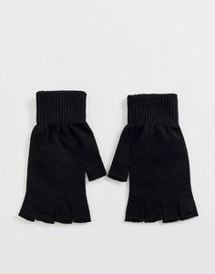 Черные перчатки без пальцев ASOS DESIGN-Черный